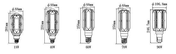 LEDコーンライトの寸法図面