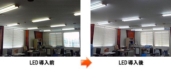 LED導入前とLED導入後の写真を比較してみて下さい。明るさが全然違います。