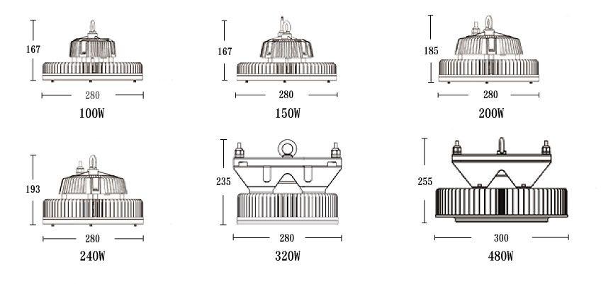 LED高天井灯の寸法図